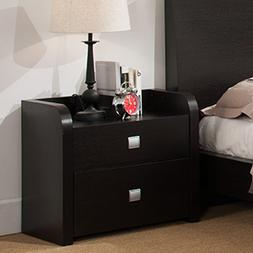 Transitional Bedroom Nightstand Side Table Stand 2 Storage D