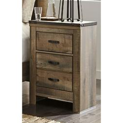Trinell USB Brown Three Drawer Nightstand New