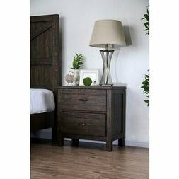 Two Drawer Solid Wood Night Stand with Block Legs and Bar Ha