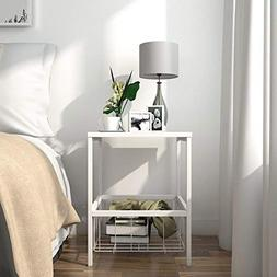 Lifewit 2-Tier Nightstand with Storage Basket, Sofa Table En
