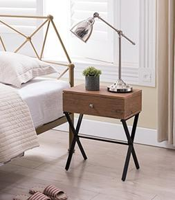 Vintage Brown / Black Metal X-Frame Nightstand Side End Tabl
