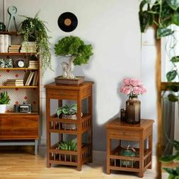 Vintage Side End Table Night Stand with Shelves & Drawer for