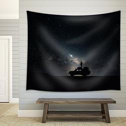 wall26 - Man Stand on the Car under Starry Night - Fabric Wa