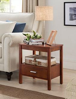 Kings Brand Walnut Finish Wood Side End Table Night Stand Wi