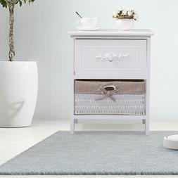White 2 Layer Nightstand End Side Bedside Table Organizer wi