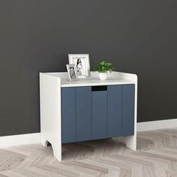White and Dark Grey Finish Kids Room Nightstand Side End Tab