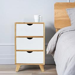 DL furniture White/Ash Oak Finish Side End Table Nighstand w