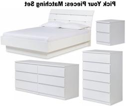 White Bedroom Furniture Dresser Drawer Nightstand 5 Chest 6