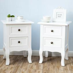 Set of 2 Wood White Sofa End Side Bedside Table Nightstand W