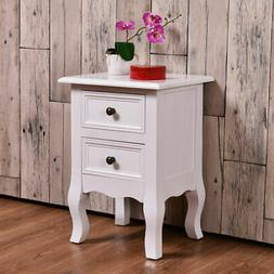 White Curved Legs Accent Side End Table Nigh stand Furniture