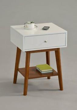 White / Dark Oak Side End Table Nighstand with Drawer and Sh