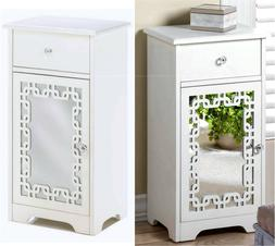 WHITE DECORATIVE MIRROR DOOR ACCENT SIDE  TABLE CABINET WITH