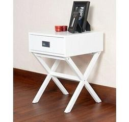 White End Table Modern Furniture Living Room Accent Side Woo