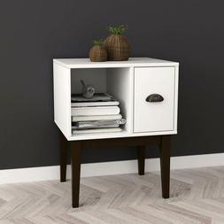 White / Espresso Nightstand Side End Table with Drawer