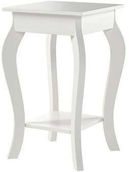 White Finish Curved Legs Accent Side End Table with Bottom S