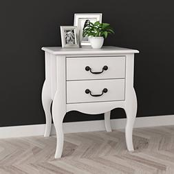 White Finish Curved Legs Nightstand Side Table with Two Draw