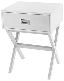 White Finish Modern Side End Table Nighstand with Drawer