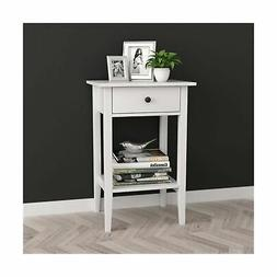 White Finish Nightstand Side End Table with Drawer and Shelf