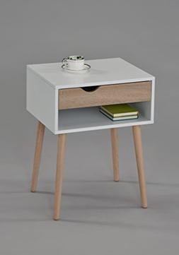 White Finish Sonoma Oak Nightstand Side End Table with Drawe