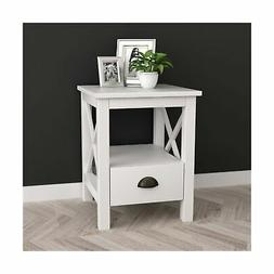 White Finish X-Design Nightstand Side End Table with Drawer