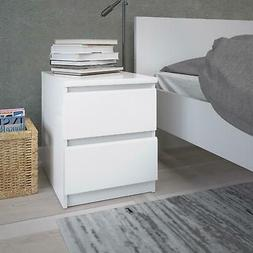 White Gloss Wooden Nightstand 2 Drawers Bedside Sofa End Tab