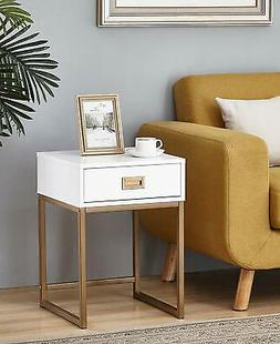 White/Golden Finish Modern Nightstand Side End Table with Dr