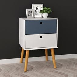 White / Grey Finish Modern Mid-Century Style Nightstand Side