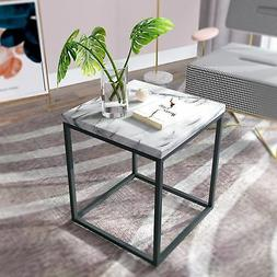 Roomfitters White Marble Print End Table/Side Table/Night St