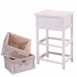 JAXPETY VD-54405HWWH Night Stand 3 Tiers 1 Drawer Bedside En