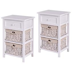 Giantex Set of 2 Night Stand 3 Tiers 1 Drawer Bedside End Ta