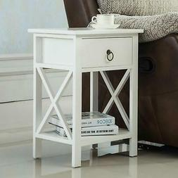 White Night Stand End Side Bedside Table Organizer Wood New