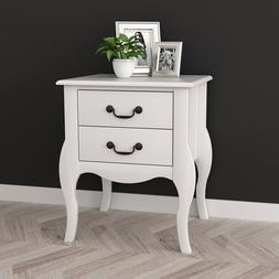 White Night Stand Table Bedroom Modern Wood End With Two Dra