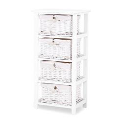 Mecor White Nightstand Dresser Storage Tower - 4 Wicker Draw