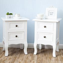 2 x White Nightstand Set 2 Bedside End Table Pair Shabby Chi