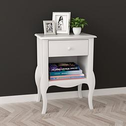 white nightstand side table curved