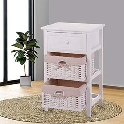 White Nightstand End Table Bedroom Bedside Furniture w/ 2 Wi