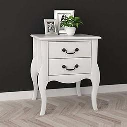 White Nightstands Finish Curved Legs Side Table With Two Dra