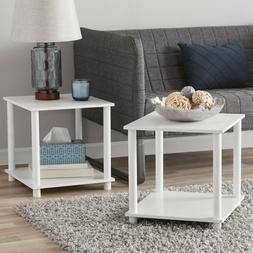 White Side End Tables Set of 2 Night Stand Single Cube Shelv