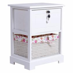 White Wood Bedside Sofa End Table Night Stand Safety Drawer
