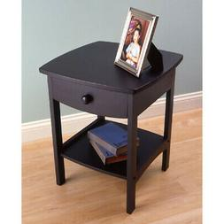 wood curved black wooden night stand 20218