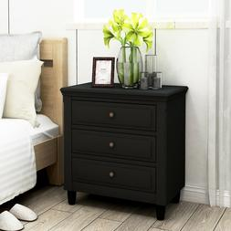 Wood Night Stand,3-Drawer Nightstand Storage Wood Cabinet,Fo