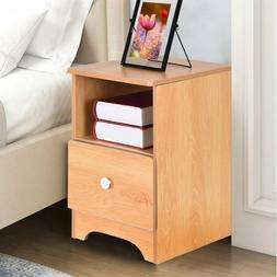 Wood Nightstand Bedside Bedroom End Side Table 1 Drawer Stan