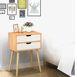 Set of 2 End Bedside Table Solid Wood Legs Nightstand with W