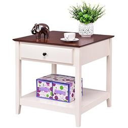Giantex Wood End Table with Drawer & Storage Shelf Night Sta