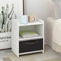DEVAISE Wood End Table/Night Stand/Bedside Table Storage She