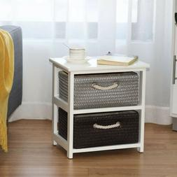 Wooden Night Stand with 2/3/4 Wicker Baskets Storage Bedside