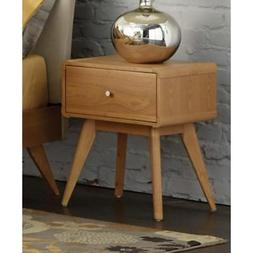 Wooden Night Stand With Drawer And Flared Legs, Light Brown