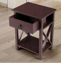 Wooden Nightstand Table End Living Room Cross Style X-Design
