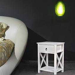 MAGIC UNION Wooden X-Design Side End Table Night Stand Stora