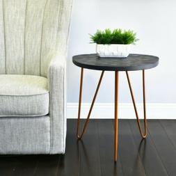 Wooden Side Table Stool Gray Finish Bronze Legs Night Stand